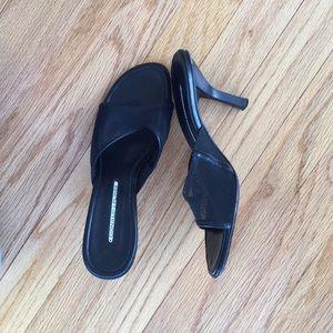 Black mesh heels